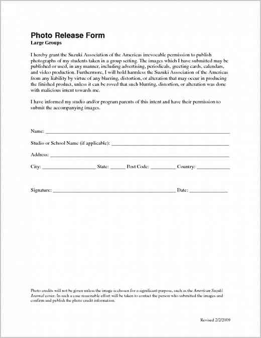 Permission And Release Form | Media | Suzuki Association Of The