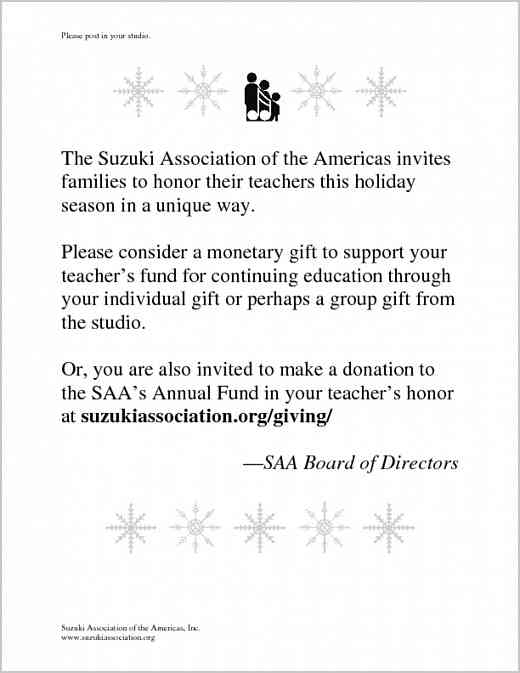 Holiday Gifts to the SAA