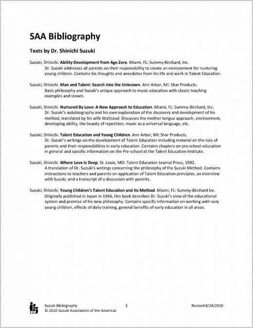 Suzuki Bibliography