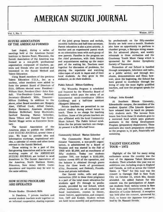 American Suzuki Journal volume 1.1