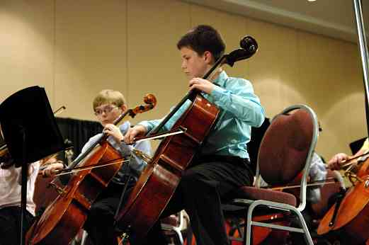Cellos in the SYOA concert at the 2010 Conference