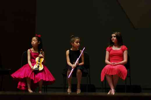 Yesong Sophie Lee, Nadira Novruzov, and Caroline Richards in the Kaleidoscope Concert