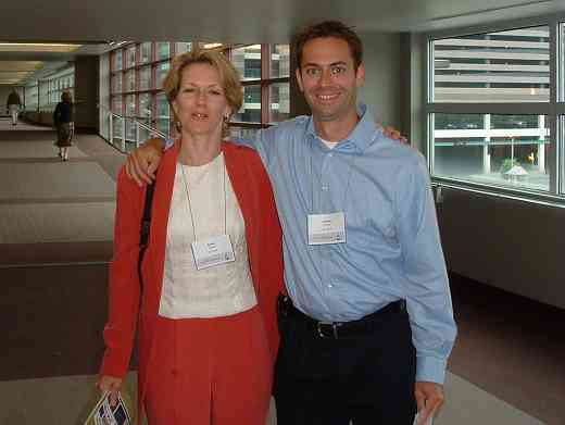 SAA staff members Karen Phelan and Jeremy Thomas at the 2004 SAA Conference