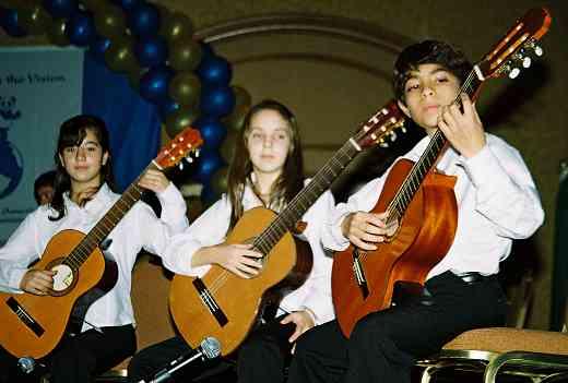 Latin American guitar group. Left to right: Eugenia Milagros Bernasconi, Manuela Iparraguirre, and Sergio Fernando Llugdar.