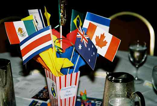Flags table centerpiece.