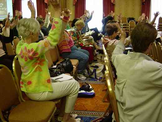 Audience participation in Joan Linklater's session at the 2008 SAA Conference