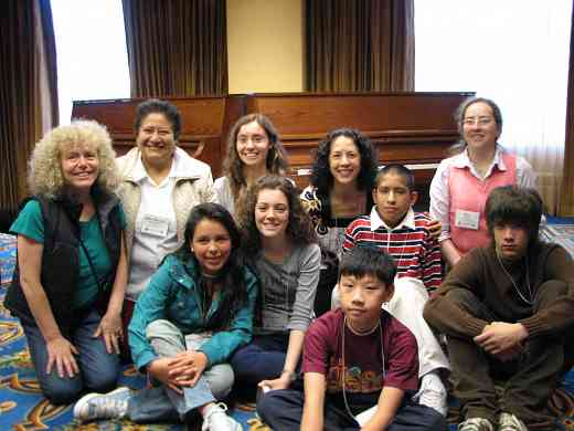 Caroline Fraser, Michiko Yurko, and Latin American piano students at the 2008 SAA Conference