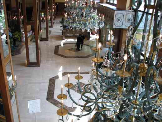 Hilton Hotel lobby chandeliers.