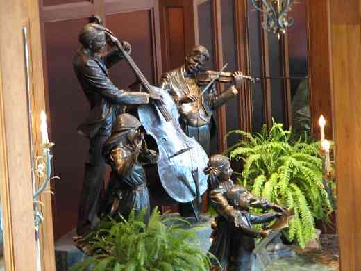 Hilton Hotel lobby statues.