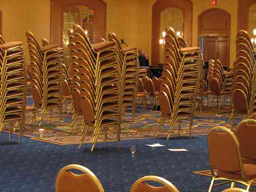 Towers of chairs in the Hilton hotel ballroom at the 2008 SAA Conference