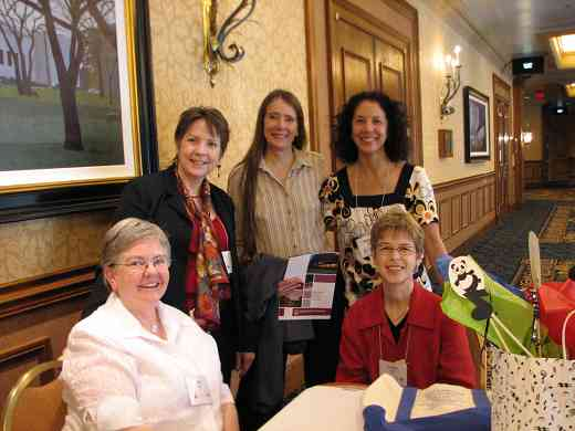 2008 Conference attendees. Front row: Dee Martz, and Joanne Martin. Back row: Delaine Fedson, Mary Kay Waddington, and Michiko Yurko.