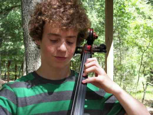 Cello student at Blue Lake Suzuki Family Camp