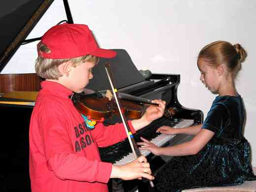 Violin and piano students at Chaparral MusicFest Suzuki Academy