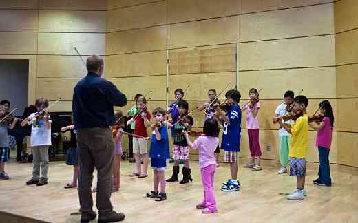 Violin group class at Langley Community Music School Suzuki Summer Workshop