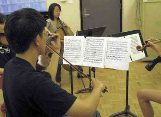 Student quartet at Advanced Suzuki Institute at Stanford