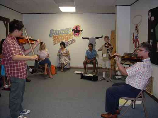 Violin group class at Greater New Orleans Summer Suzuki Music Camp