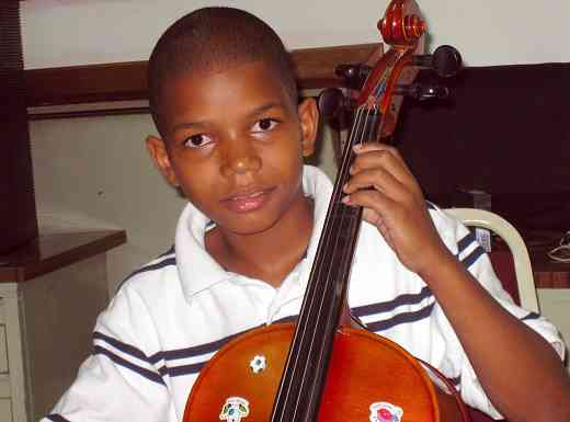 Cello student in the Dominican Republic