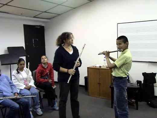 Kelly Williamson and flute student at the Bogota Suzuki Festival in June, 2008.