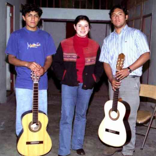 Guitar teacher Mercedes Vargas with students from Ica