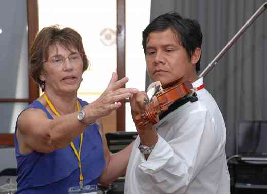 Nancy Lokken and Peruvian teacher