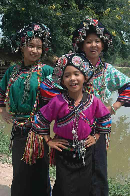 Lollopho girls dancing, New Year Festival, Muang Sing, Lao, 2006