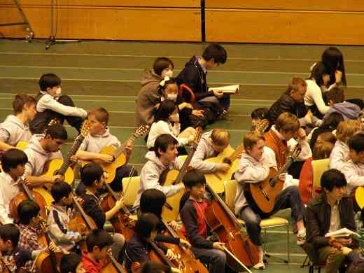 Students prepare for the opening concert.
