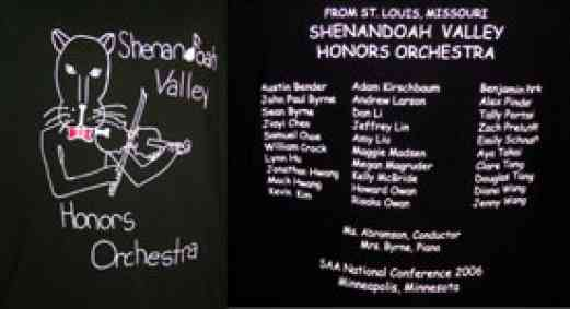 Front and back design of the Shenandoah Valley T-shirts at the SAA Conference