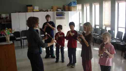 Students play recorder at the MacPhail Suzuki Winds Winter Workshop, Recorder Music and Movement Class, with David Gerry and Mary Halverson Waldo
