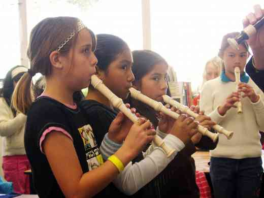 Recorder students in the classroom.