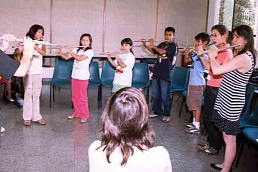 Flute students in Peru