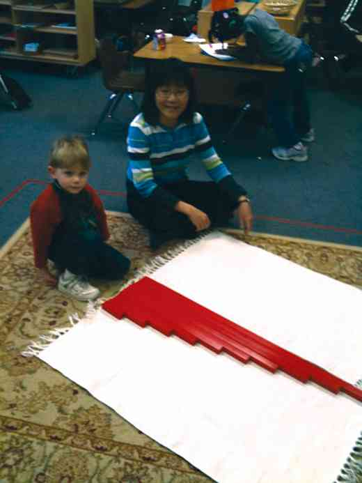Placing red rods in order of length