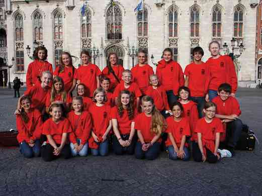 Rocky Mountain Strings performed a concert in the town square of Bruges