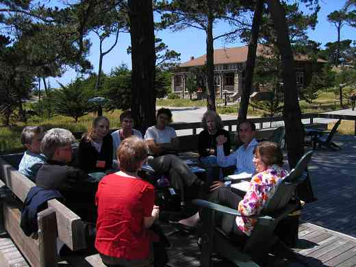 Enjoying an outdoor meeting in the sun at the 2005 SAA Leadership Retreat