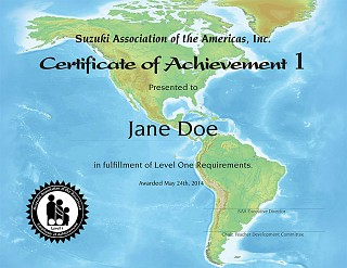 Example Certificate of Achievement