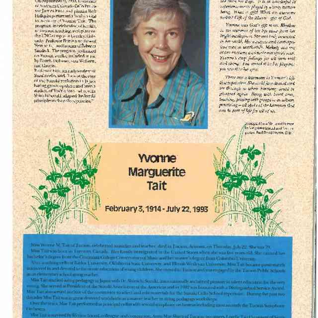 In Memoriam: Yvonne Tait