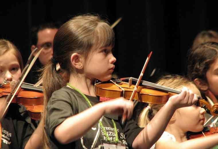 Violin group class at Greenville Suzuki Strings Workshop