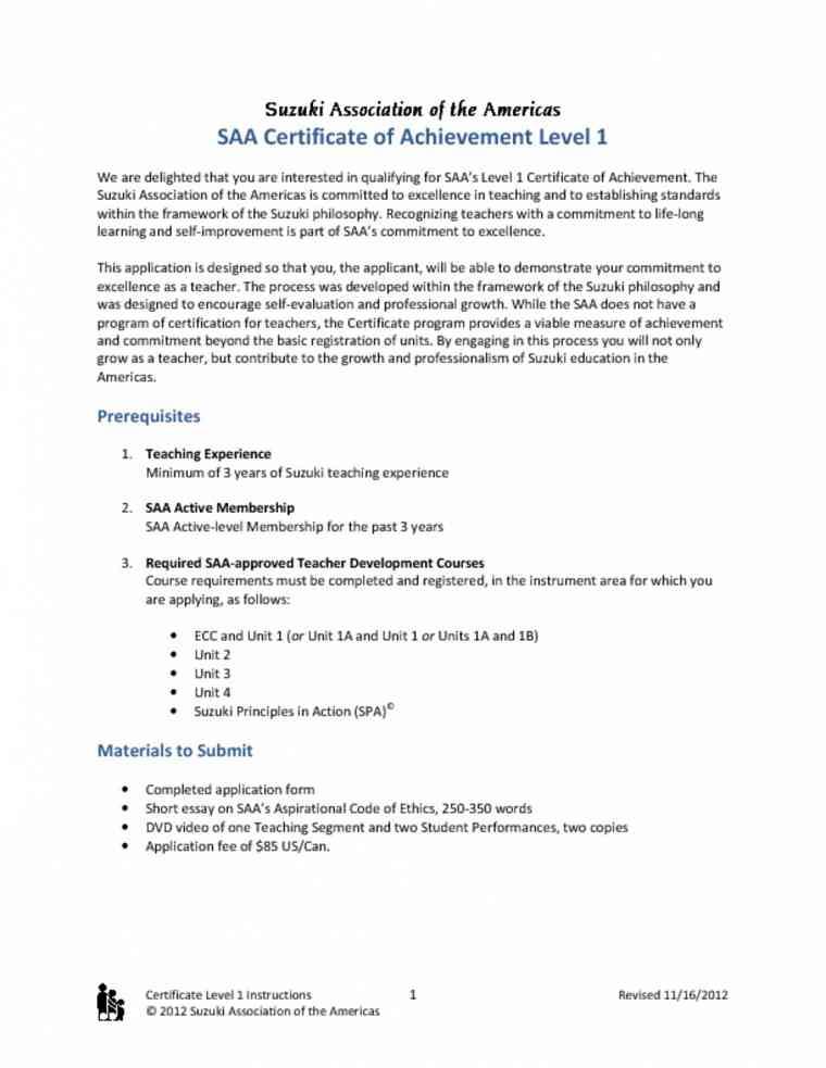 Certificate of Achievement Level 1 Application Instructions