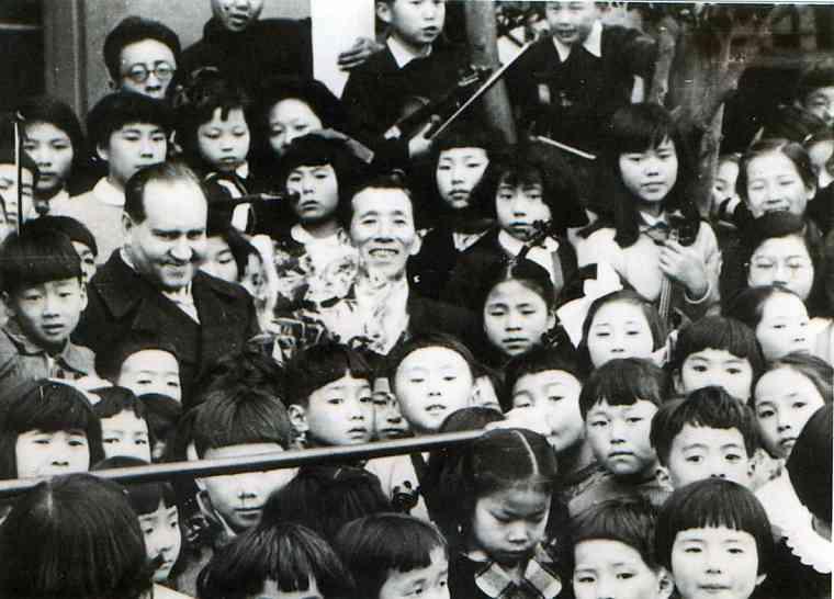 Dr. Shinichi Suzuki and Japanese Violin Students