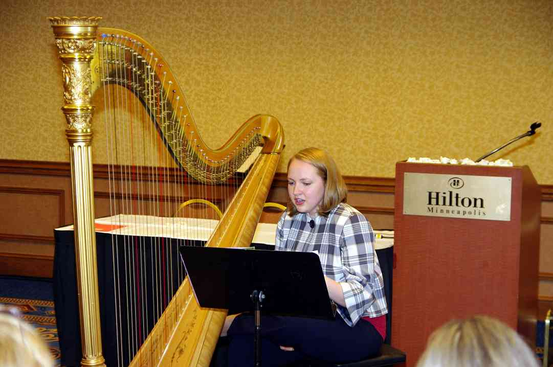 Angela Willis presents a harp session at the 2010 Conference