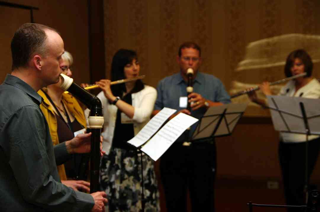 Patrick O'Malley at a flute and recorder playing session at the 2010 Conference