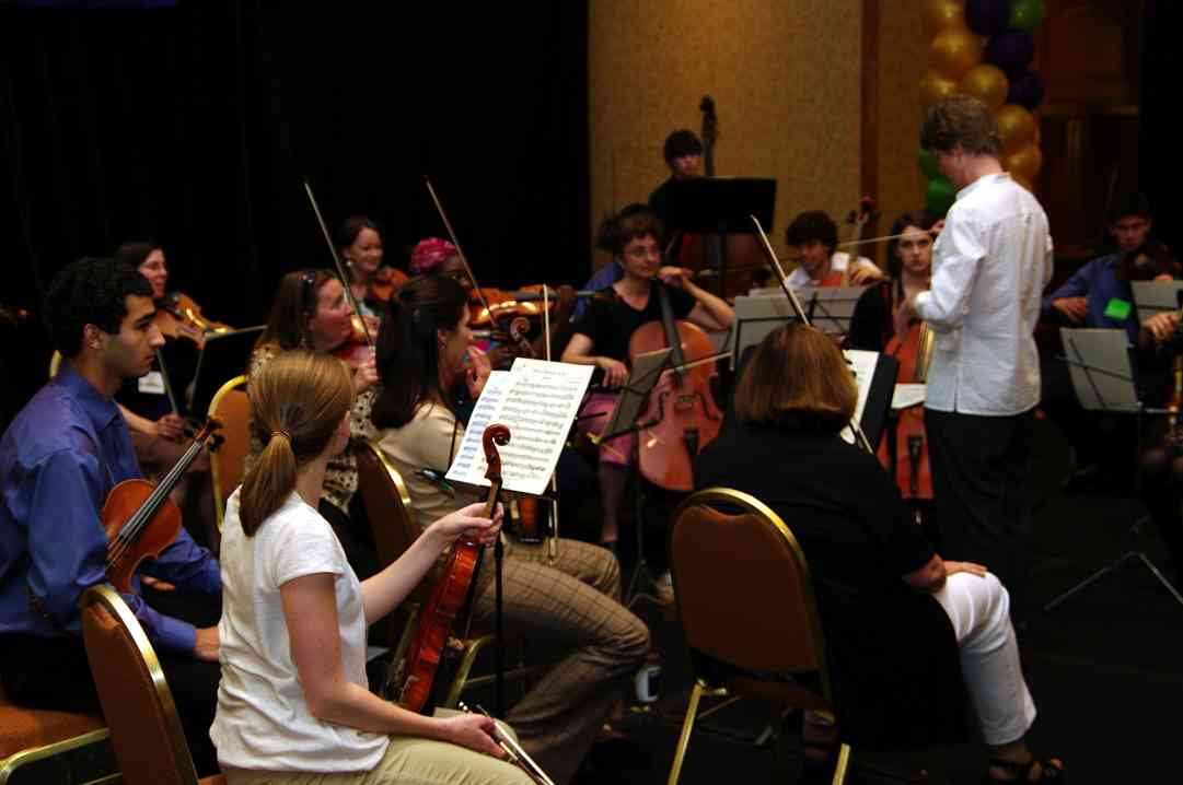 The Hartt orchestra rehearses for the Piano Concerto at the 2010 Conferen