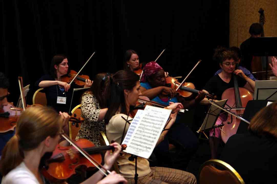 The Hartt orchestra rehearses for the Piano Concerto at the 2010 Conference