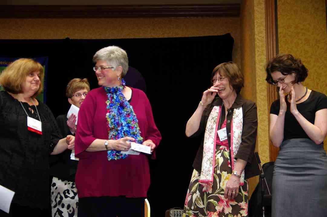 Teri Einfeldt, Christie Felsing, Joanne Melvin, Pam Brasch, and Jenny Ferenc at the 2010 Conference awards banquet