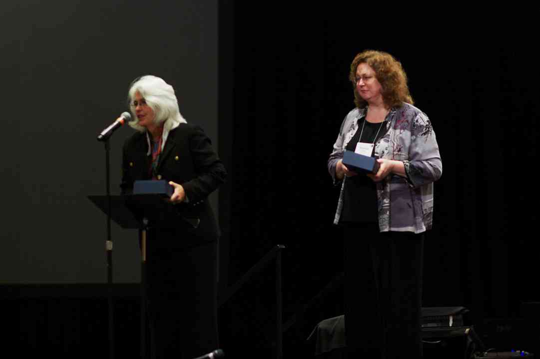 Laurie Scott and Winnifred Crock receive a Creating Learning Community award