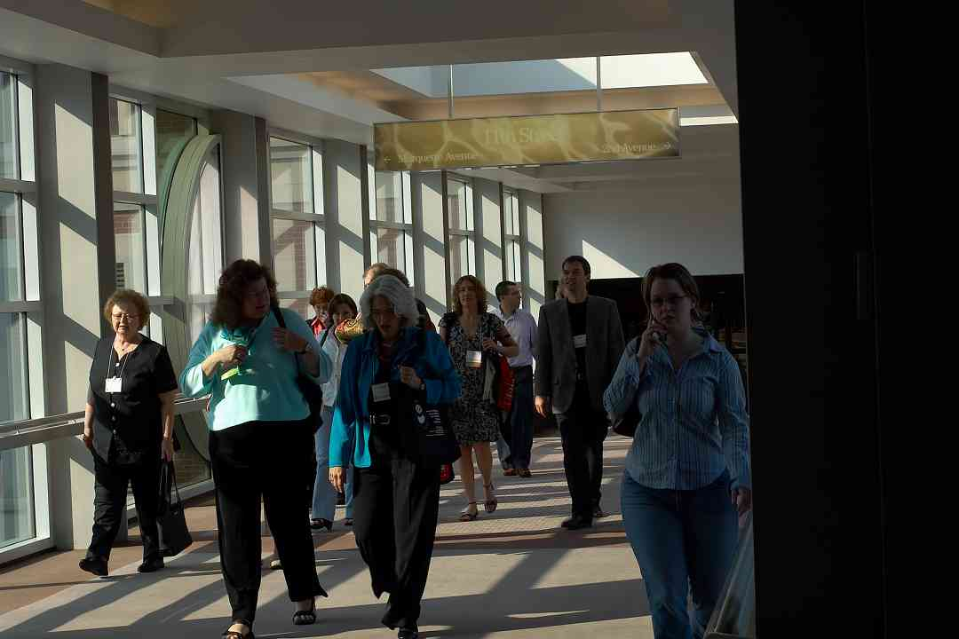 On the way to the convention center via the skywalk at the 2006 SAA Conference. Winifred Crock, Martin Norgaard, and others.