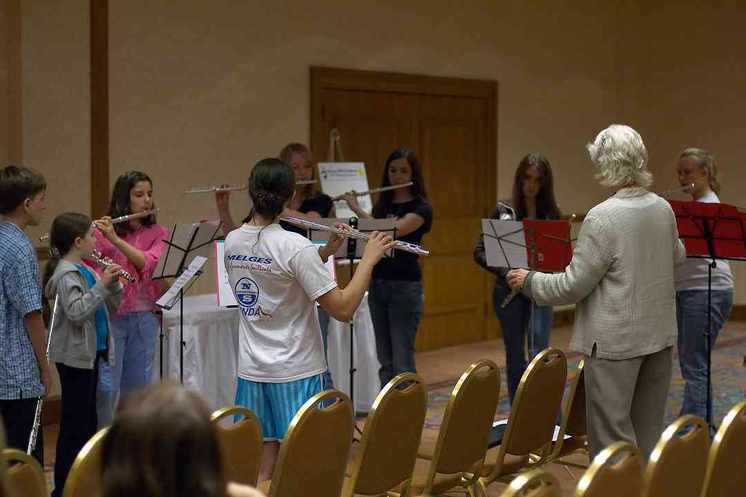 Flute choir rehearsal with Wendy Stern at the 2006 SAA Conference