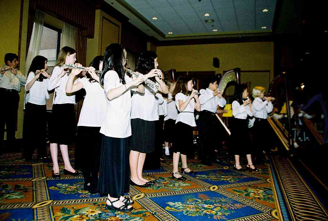 Suzuki flute and harp choir performance.