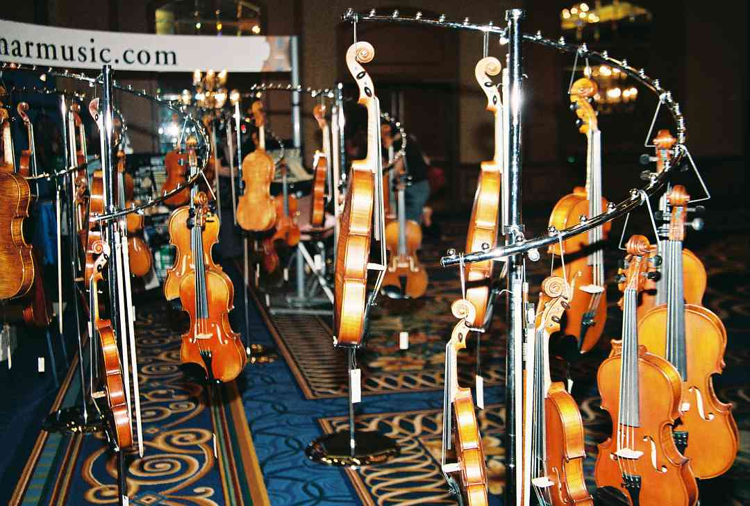Violins in the exhibit area.