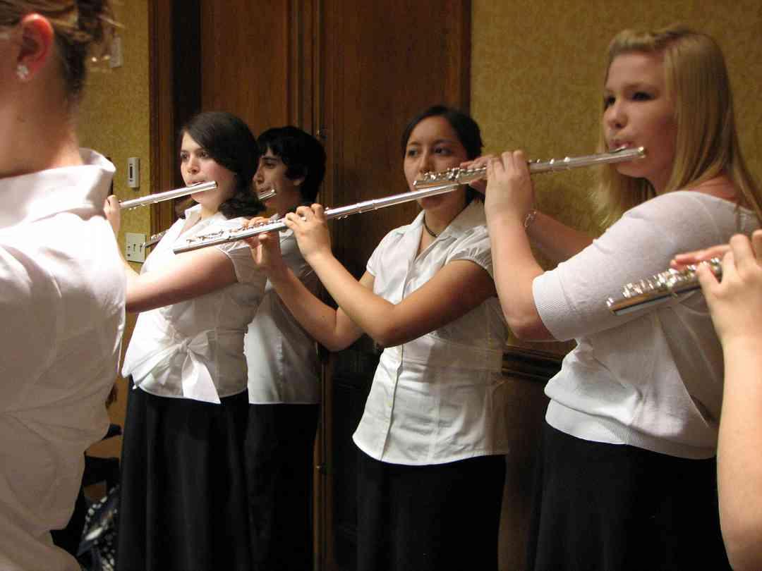 Suzuki flute ensemble rehearsal.