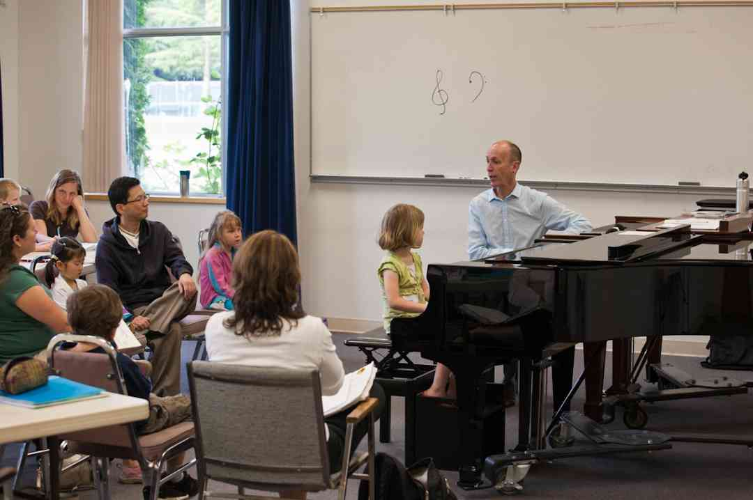 Piano group class at Langley Community Music School Suzuki Summer Workshop